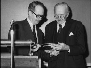 Professor Dahrendorf presenting Professor F. A Hayek with a Commemorative Plate, 1981