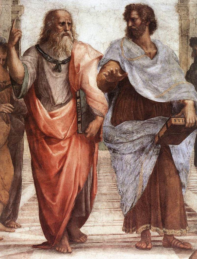 Platon i Arystoteles - fragment fresku Szkoła ateńska Rafaela Santi.