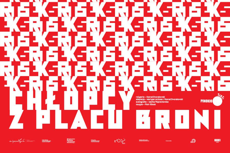 Chłopcy z Placu Broni - plakat spektaklu Teatru Pinokio w Łodzi