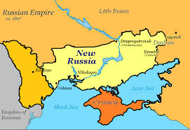 A map of what was called New Russia during the time of the Russian Empire. Only the parts of New Russia that are now in Ukraine are shown. Wikicommons